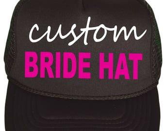 Bachelorette Party Favors . Custom Bachelorette Trucker Hats . Snap Back Bridesmaid Hat . Personalized Bride to Be hat- black, hot pink,