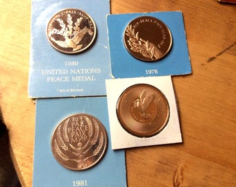 Lot of 5 United Nations Collectible Peace Medals