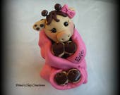Giraffe, Baby Shower Cake Topper, Polymer Clay, Baby Giraffe, Cake Topper, Custom Cake Topper