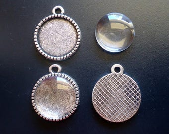 DIY Glass Cabochon and Tray Settings - Antique Silver- 14mm Glass Cab and Tray