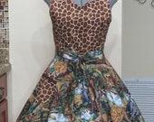 Sale - A Twist of Safari and Jungle Print Sexy Apron - Ready to ship