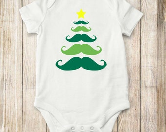 Christmas Tree, Mustache, Onesie, Baby Clothes