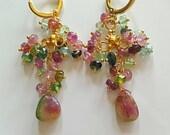 25% Off Sale Watermelon Tourmaline Chandelier Earrings on Gold Vermeil with Gold Vermeil Hoops Gift for Her Boho Earrings