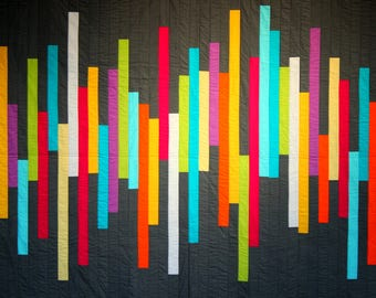 Modern colour block quilt, minimalist quilt,  neon and grey modern quilting, sound wave quilt, unisex quilt,