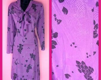 Vintage 1980s Floral Purple Sassy Secretary Dress