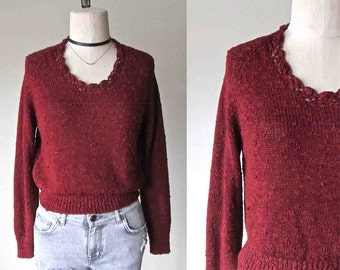 Vintage 80s boho sweater RUSTY RED lightweight slub knit - S/M