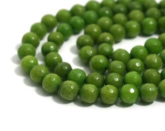 8mm Faceted Candy Jade, Avocado Green Color, Round Gemstone beads   (1280S)