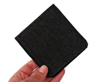 Black Denim Wallet,Minimalist Wallet,Mens Simple Wallet,Small Vegan Wallet,Mini Slim Bifold,Back Pocket Wallet,Eco Friendly Wallet