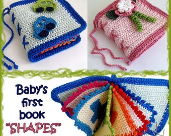 "Crochet pattern Baby first book ""Shapes"" - Great and cool baby shower gift! Pattern #198 - Permission to sell finished items."