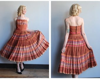 1950s Dress Set // Western Swing Halter Blouse & Skirt // vintage 50s Patio Halter Set