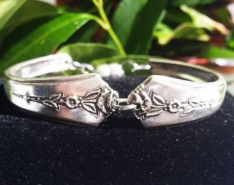 Spring Garden 1949, spoon bracelet, silver jewelry, magnetic closure, gifts for her