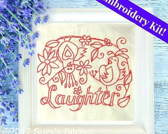embroidery, kit, redwork, laughter, birds, funny, needlework, red, easy embroidery, pattern