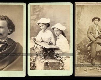 1860s / 70s CDV PHOTOS Missouri Photographer Julius Gross & Children ** Armed Hunter