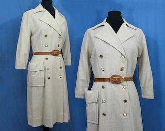 Unique Wool Dress w/calf hide belt & buttons - John Wanamaker 1950s tan wool coat style dress