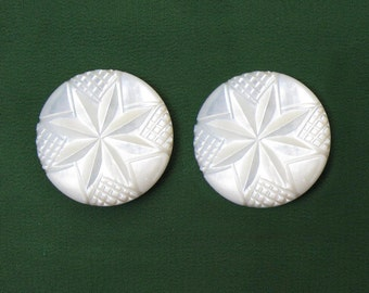 "Mother of Pearl Shoe Clips - 1.25"" carved design - ca 40s-50s"