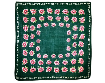 VINTAGE HANKIE, Rows of Red Roses on Green Ground Cotton Mid-Century Grid Geometric Valentines Excellent Condition