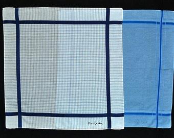 PIERRE CARDIN HANDKERCHIEFS Designer Pierre Cardin 2 Lightly Used, Blue on Blue Stripe, Ivory Plaid & Navy Stipe
