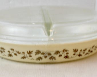 mid century modern pyrex baking dish gold leaves