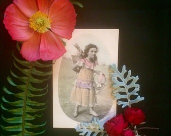 Edwardian French Easter Postcard - Antique Photo - Girl and Rabbit -Egg Basket