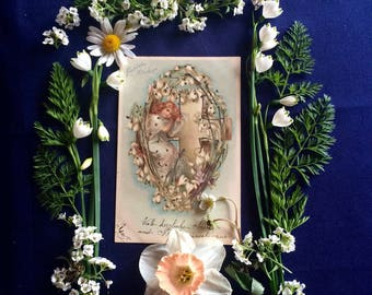 Easter Postcard - Snowdrops - Girl with White Flowers - Cross - Victorian