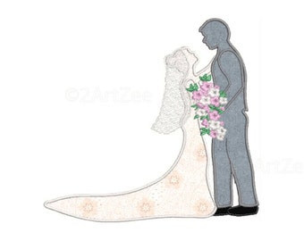 Couples Wedding Embrace with Bouquet Applique and Machine Embroidery Design Hug Kiss