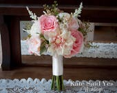 Rustic Bouquet, Blush Bouquet, Wedding Bouquet, Rose Bouquet, Silk Bouquet, Garden Bouquet, Silk Flowers