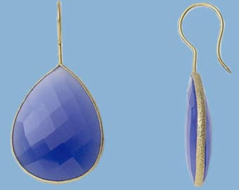 Blue onyx bezel set gold vermeil earrings