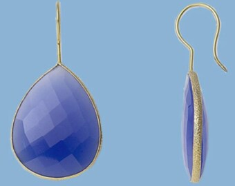 Blue onyx bezel set gold vermeil earrings