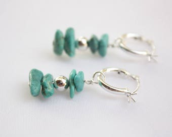 Sterling Silver Turquoise Hoop Earrings, Click Hoops, Natural Turquoise Stone, Turquoise Nuggets,  Ready to Ship