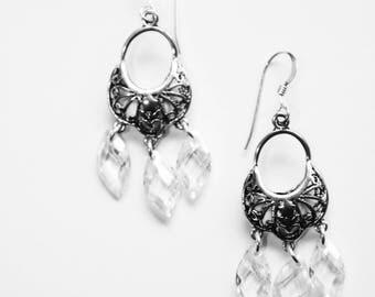 Cubic Zirconium Chandelier Earrings, Wedding Bridal Earrings, OOAK,  Ready to Ship