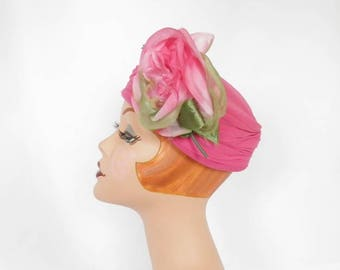 vintage pink hat, 1960s pillbox with rose