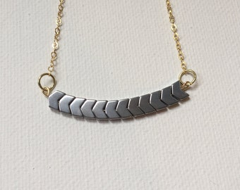 Silver Plated Hematite Chevron Delicate Everyday Skinny Bar Necklace, 14k Gold Plated Sterling Silver Necklace, silver