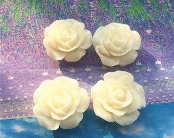 20pcs  20.5mm white rose flower resin cabs/resin flower cabs