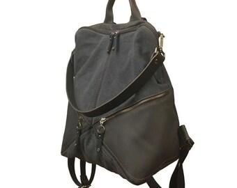 Backpack,shoulder bag ,canvas -leather ,Handmade ,named IRIA
