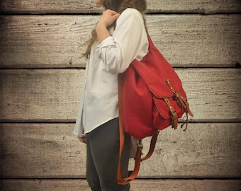 Handmade backpack -purse in red canvas with leather details, named Diane , MADE TO ORDER