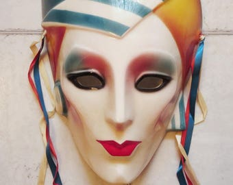 Clay Art Ceramic Wall Mask, Art Deco Style About Face Wall Hanging