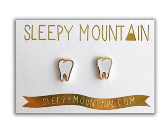 Teeth Earrings - Molars - Gold Plated Stud Earrings - Dental