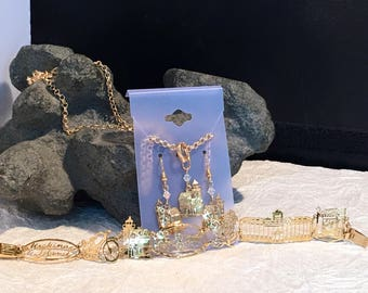 Gold Mine Jewelry Mackinac Island Necklace , Bracelet , and earrings set.