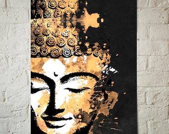 Buddha Wall Art - Gold Buddha - Buddha Decor, Zen, Meditation, Art Print, Boho Decor, Buddha painting, Yoga Studio Decor, Buddha poster