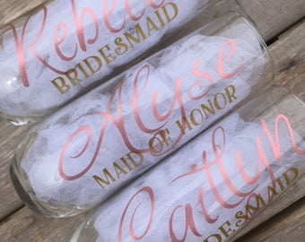 Rose gold glasses, Personalized rose gold champagne glasses, stemless bridesmaid glasses, stemless champagne flutes
