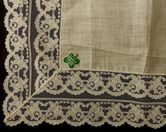 Irish Linen and Deep Lace Wedding Handkerchief Hankie New Old Stock NOS    NEF2