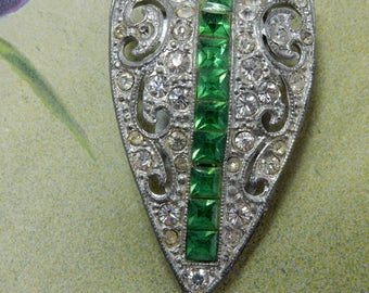 1920s Green & Clear Rhinestone Dress Clip    OV41