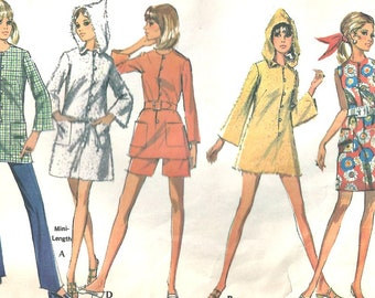 1960's McCalls 9692 Pattern Beach Coat, Slacks, Shorts, mini dress Size 10 Bust 32