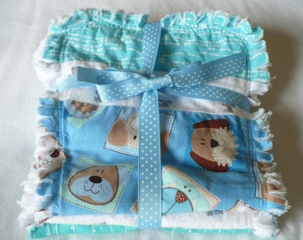 Baby Boy Burp Cloth Set of 3 - Fun Modern Puppy Dog Prints in Bright Blue Aqua Green and Gray Chenille Rag Quilted