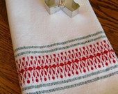 Holiday Hand Towel, Handwoven Guest Towel, Christmas Kitchen Towel, Green & Red, Tea Towel, Basket Liner, Hostess Gift, Swedish Style, Woven