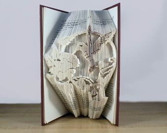 Hummingbird Folded Book - Book Art Bookfolding Home Decor