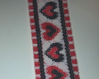 Hearts trim, red and blue hearts, one inch wide , costume, cosplay trim