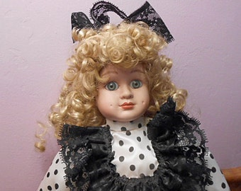 """Vintage 17"""" LARGE BLOND DOLL Porcelain Head Hands Legs Curly Hair Black White Polka Dot Dress & Purse, Lace Apron Shoes Stockings Stand"""