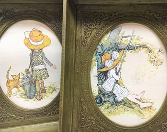 Holly Hobbie Framed Pair 1971 American Greetings Vintage