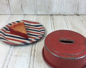 Vintage Toy Metal Pie Pan, Cover and Play Slice Pie